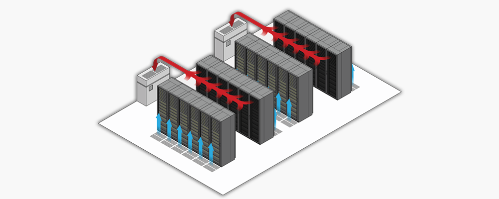 Use a hot/cold row layout to lower data center PUE and improve efficiency